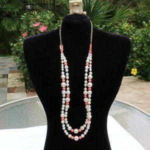 Boho Multi Strand Pearl Statement Necklace Set